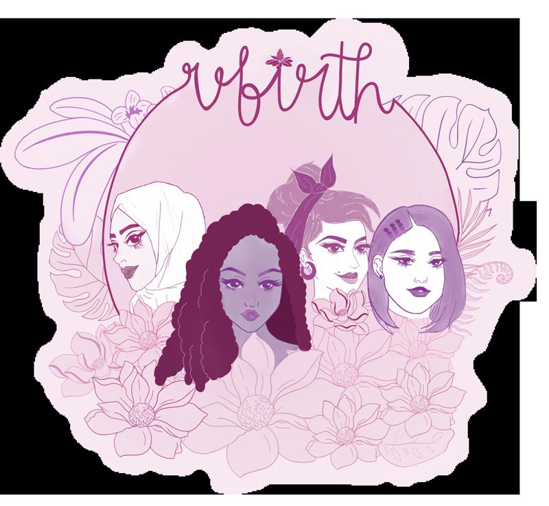 MAI Rebirth logo with four women posing